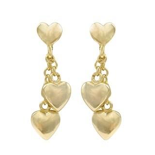 Luxiro Two-tone Gold Finish Heart Children's Dangle Earrings - White