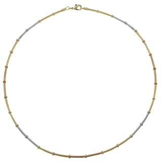 Luxiro Tri-color Gold and Rhodium Finish Wire Choker Necklace