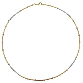 Luxiro Tri-color Gold and Rhodium Finish Wire Choker Necklace - Silver
