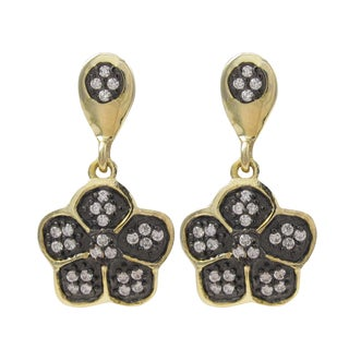 Luxiro Two-tone Sterling Silver Cubic Zirconia Flower Dangle Earrings