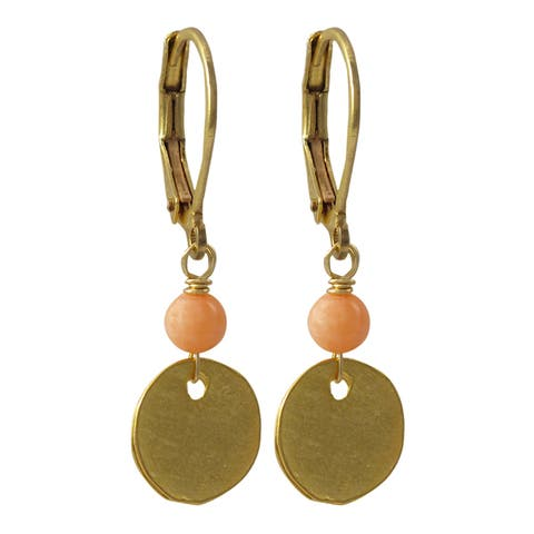 Luxiro Brushed Gold Finish Semi-precious Gemstone Disc Dangle Earrings