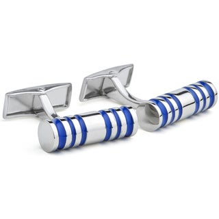 Hart Schaffner & Marx Rhodium-plated Cufflinks with Blue Enamel Accents