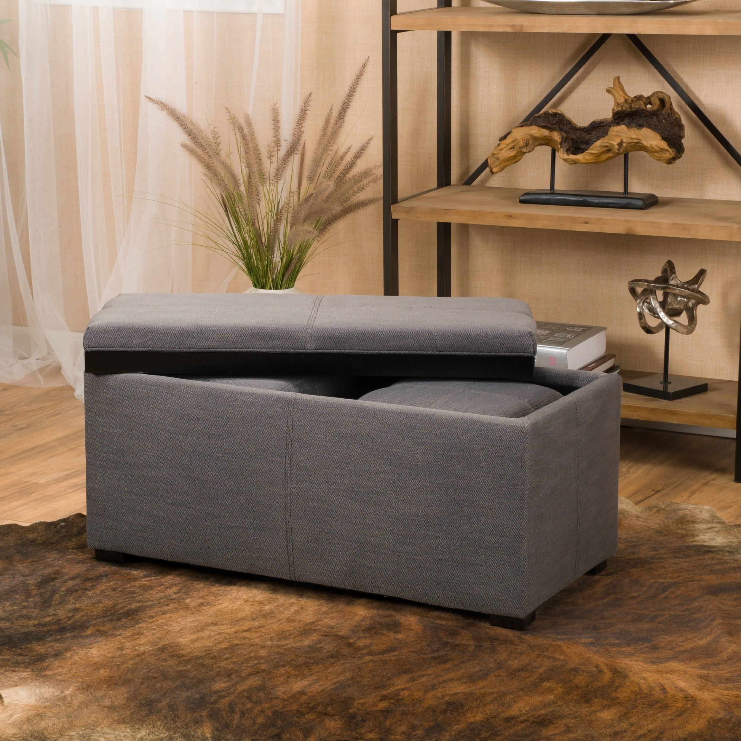 Marvelous Details About Drake 3 Piece Fabric Tray Top Nested Storage Ottoman Bench Grey Large Ncnpc Chair Design For Home Ncnpcorg