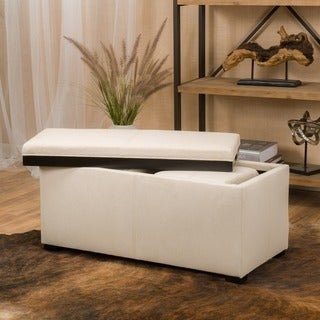 Drake 3-piece Fabric Tray Top Nested Storage Ottoman Bench by Christopher Knight Home