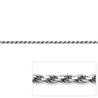 "PalmBeach Diamond-Cut Rope Chain Necklace in Sterling Silver 24"" Tailored"