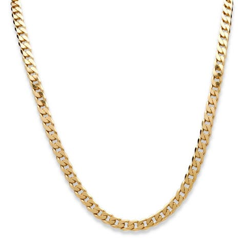 "Curb-Link Necklace in 18k Gold-Plated Sterling Silver 22"" (6.5mm) Tailored"