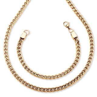 Gold over Stainless Steel Men's Franco Link Chain and Bracelet Set
