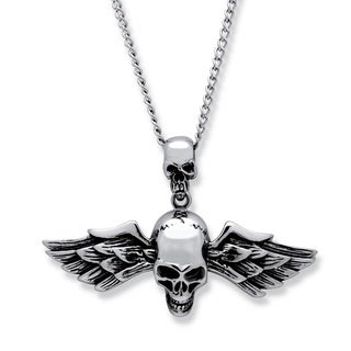 PalmBeach Stainless Steel Men's Double Skull and Wings Pendant