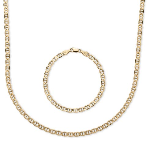 14k Yellow Gold over Silver Men's Mariner Link 2-piece Chain and Bracelet Set