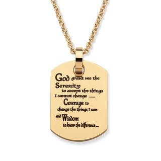 """Serenity Prayer Dog Tag Pendant Necklace in Gold Ion-Plated Stainless Steel 20"""" Tailored"""