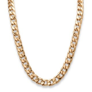 PalmBeach Gold Overlay Men's 12mm Curb Link Necklace