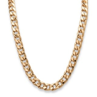 Gold Overlay Men's 12mm Curb Link Necklace