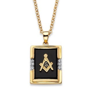 14k Gold Overlay Men's Emerald-cut Genuine Black Onyx Masonic Pendant Necklace