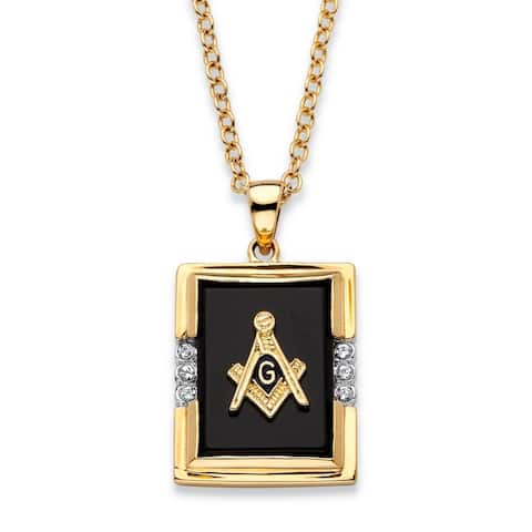 Men's Gold-Plated Masonic Pendant (16mm) Black Onyx and Round Crystal