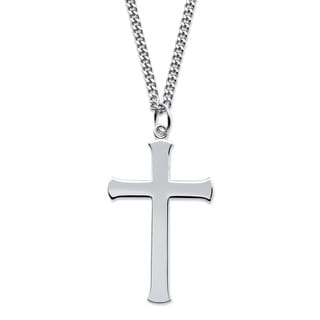 Men's Sterling Silver Cross Pendant Necklace with Stainless Steel Chain