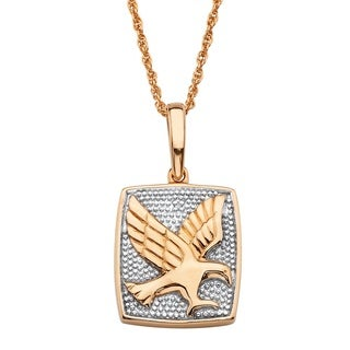 Men's 18k Gold over Silver Round Diamond Accent Two-tone Flying Eagle Pendant Necklace