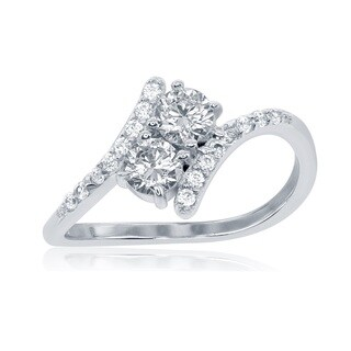 La Preciosa Sterling Silver 2-stone Cubic Zirconia Twist Ring (3 options available)
