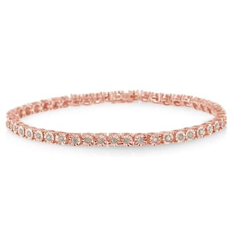 Sterling Silver 1ct TDW Rose-cut Diamond Tennis Bracelet (I-J, I3)