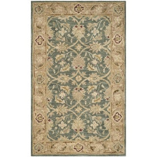 Safavieh Handmade Antiquity Teal Blue/ Taupe Wool Rug (3' x 5')