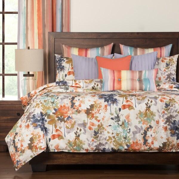 Siscovers Summer Peach Floral 6-piece Duvet Set with Duvet Insert