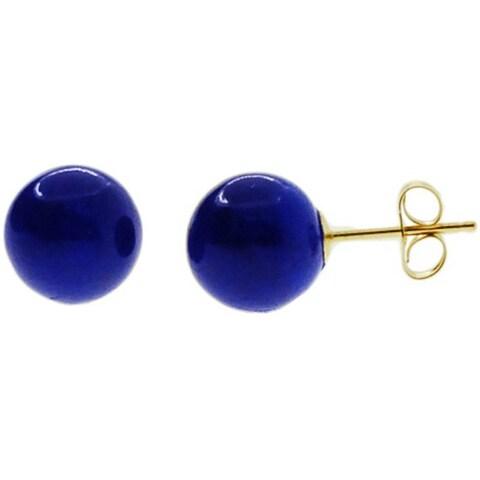 Kabella 14k Yellow Gold Lapis Stud Earrings