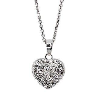 Kabella 18k White Gold 1/2ct TDW Heart Diamond Pendant (G-H, I1-I2)