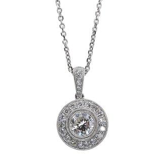 Kabella 18k White Gold 7/8ct TDW Round Diamond Halo Pendant (G-H, SI1-SI2)