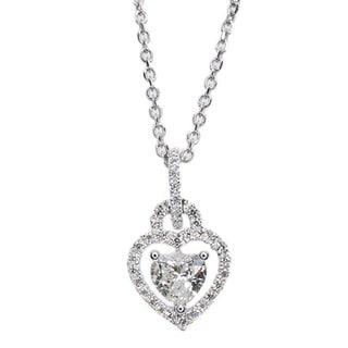 Kabella 18k White Gold 1/3ct TDW Heart Diamond Halo Pendant (G-H, SI1-SI2)