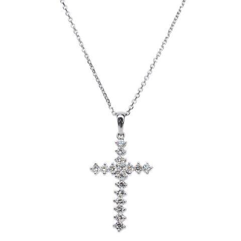 Kabella 14k White Gold 1 1/4ct TDW Diamond Cross Pendant (G-H, SI1-SI2)