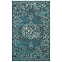 Safavieh Palazzo Black/ Cream/ Turquoise Overdyed Area Rug - 4' x 6'