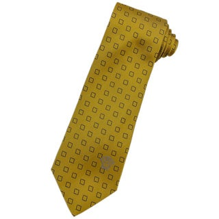 Versace 100-percent Italian Silk Gold/ Blue Square Neck Tie