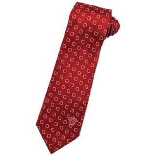 Versace 100-percent Italian Silk Red/ White Square Neck Tie