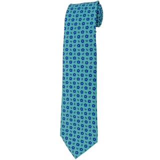Davidoff 100-percent Silk Aqua Blue Mini Flower Neck Tie