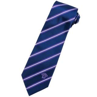Versace 100-percent Italian Silk Blue/ White/ Purple Stripe Neck Tie