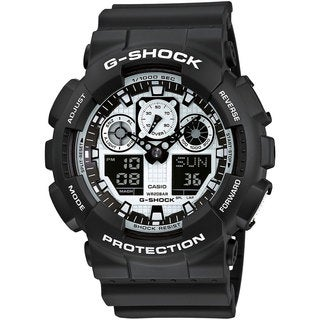 Casio G-Shock Men's GA100BW-1A Analog-Digital Dial Black Resin Watch