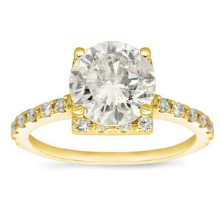 14 Karat Yellow Gold 2ct TDW Square Halo with Round Brilliant Solitaire Diamond Engagement Ring (H-I