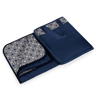 Picnic Time Vista Navy with Moroccan Print XL Blanket Tote