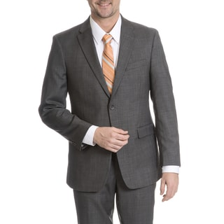 Tommy Hilfiger Men's Grey Sharkskin Trim Fit Suit Separates Two Button Blazer