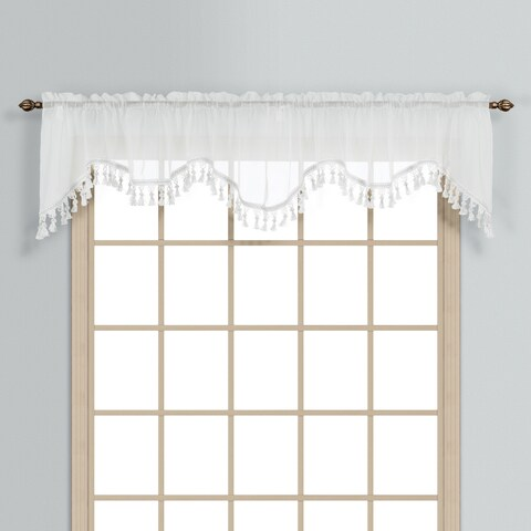 Luxury Collection Monte Carlo Coordinating Sheer Voile Scalloped Pleated Valance Topper