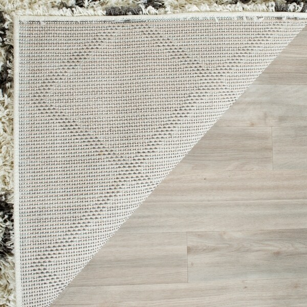Safavieh Dallas Shag Ivory/ Dark Green Trellis Rug - 4' x 6'