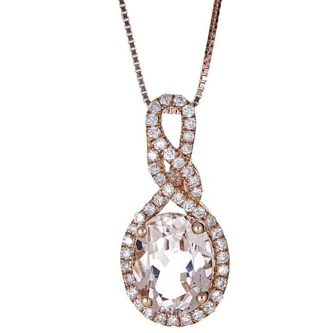 Anika and August 14k Rose Gold Oval-cut Mozambique Morganite and Diamond Pendant