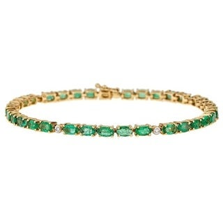 Anika and August 14k Yellow Gold Oval-cut Columbian Emerald and 1/10ct TDW Diamond Bracelet (G-H, I1-I2)