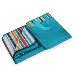 Picnic Time Vista Aqua Blue Fun Stripes XL Blanket Tote