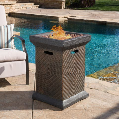 Mendocino Outdoor 19-inch Column Liquid Propane Fire Pit with Lava Rocks by Christopher Knight Home