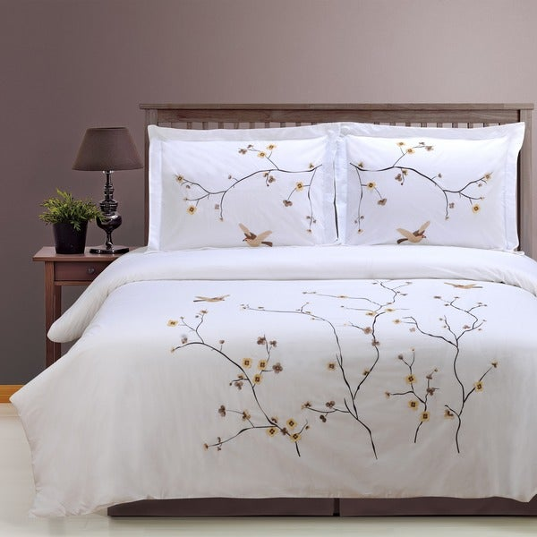 Superior Blossom 3-piece Embroidered Cotton Duvet Cover Set