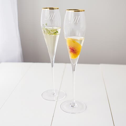 Personalized 7-ounce Gold Rim Champagne Flutes (Set of 2)