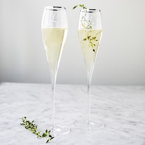 Personalized 7-ounce Silver Rim Champagne Flutes (Set of 2) - 7 oz