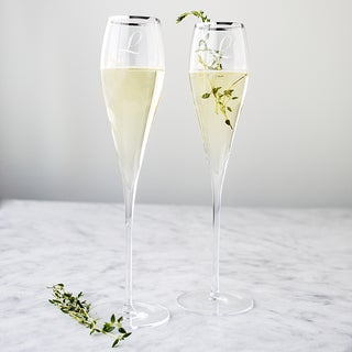 Personalized 7-ounce Silver Rim Champagne Flutes (Set of 2)