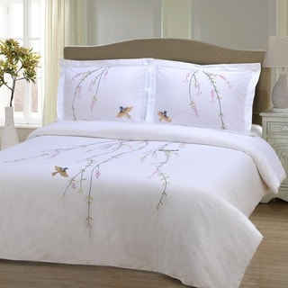 Miranda Haus Spring 3-piece Embroidered Cotton Duvet Cover Set