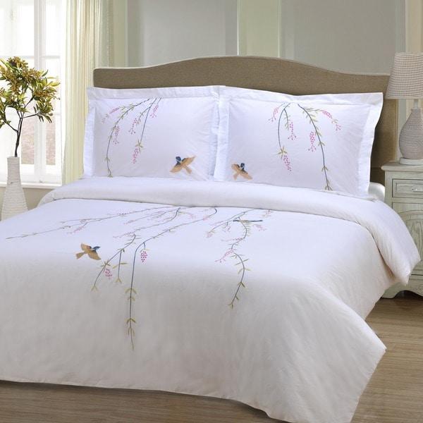 Superior Spring 3-piece Embroidered Cotton Duvet Cover Set